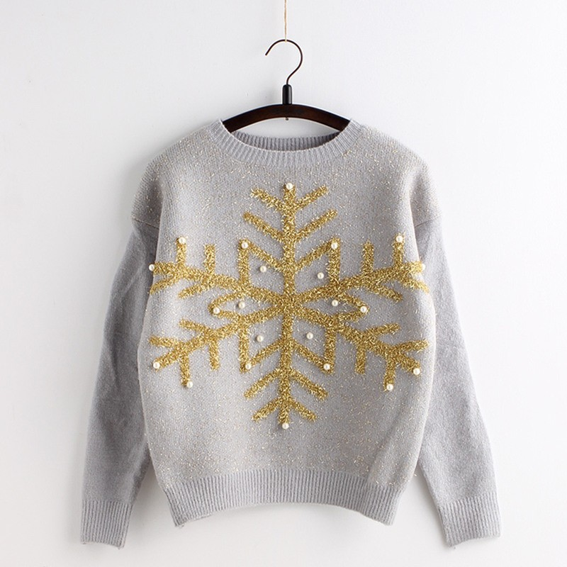 C85068A Beaded snowflake embroidered pullover sweater/women high quality sweater