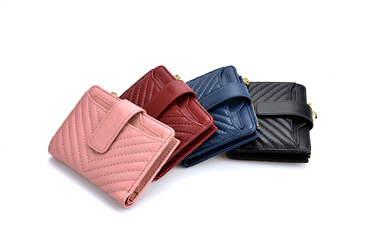 Factory price high quality soft real leather luxury pink wallet for women