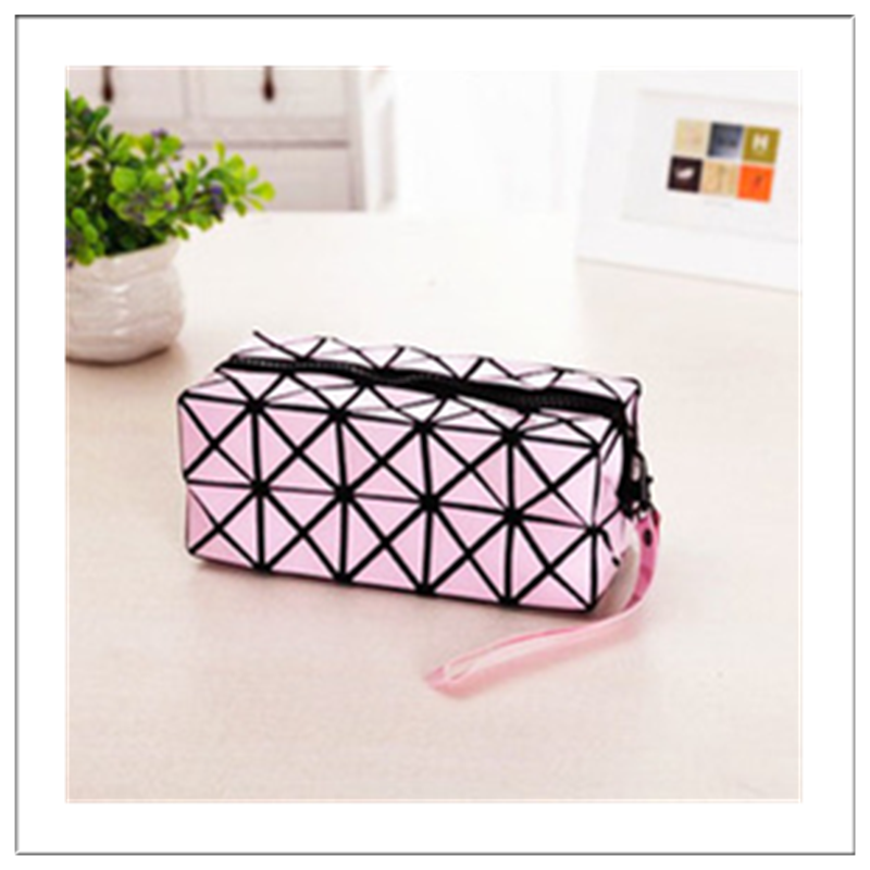 Pink PVC Protable zip top cosmetic bag colors receive package makeup case