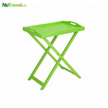 Green Folding Wood Food Serving Side Table Handle Butler Tray