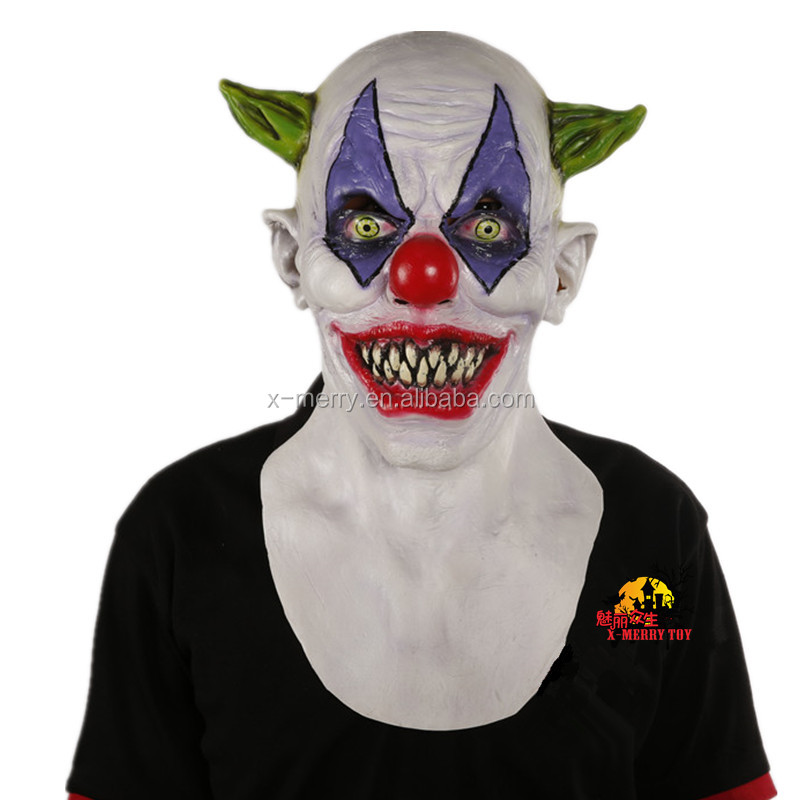 X-MERRY 2016 New Scary Clown Mask Wide Smile Green Hair Evil Adult Creepy Halloween Costume NEW