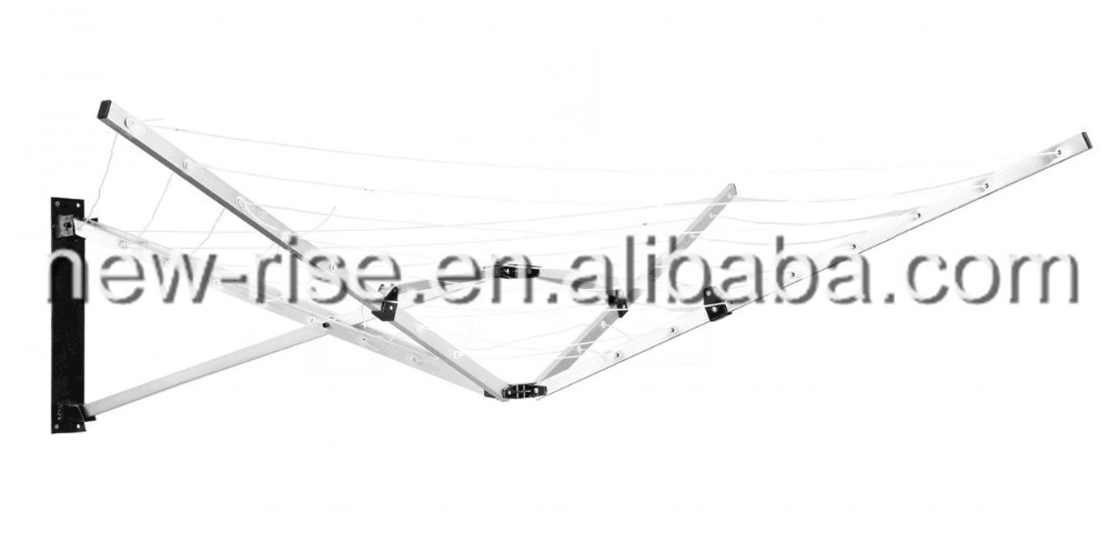 5 Arm Aluminium 26M Wall Mounted Rotary Airer Clothes Line Dryer