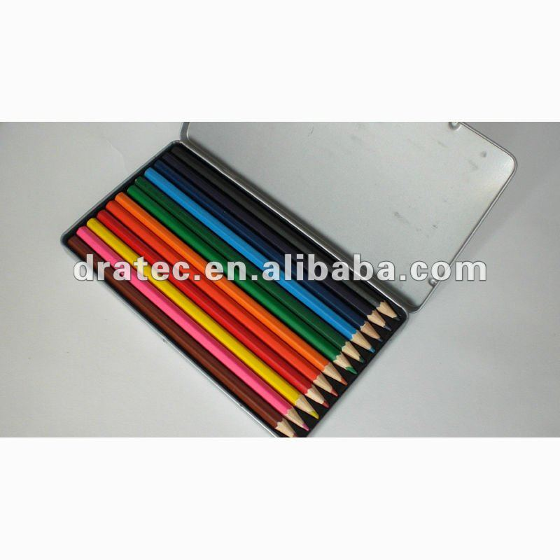 "7"" high quality wooden color pencil in flat tin box"