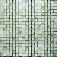 white glass mix travertine decorative mosaic tile