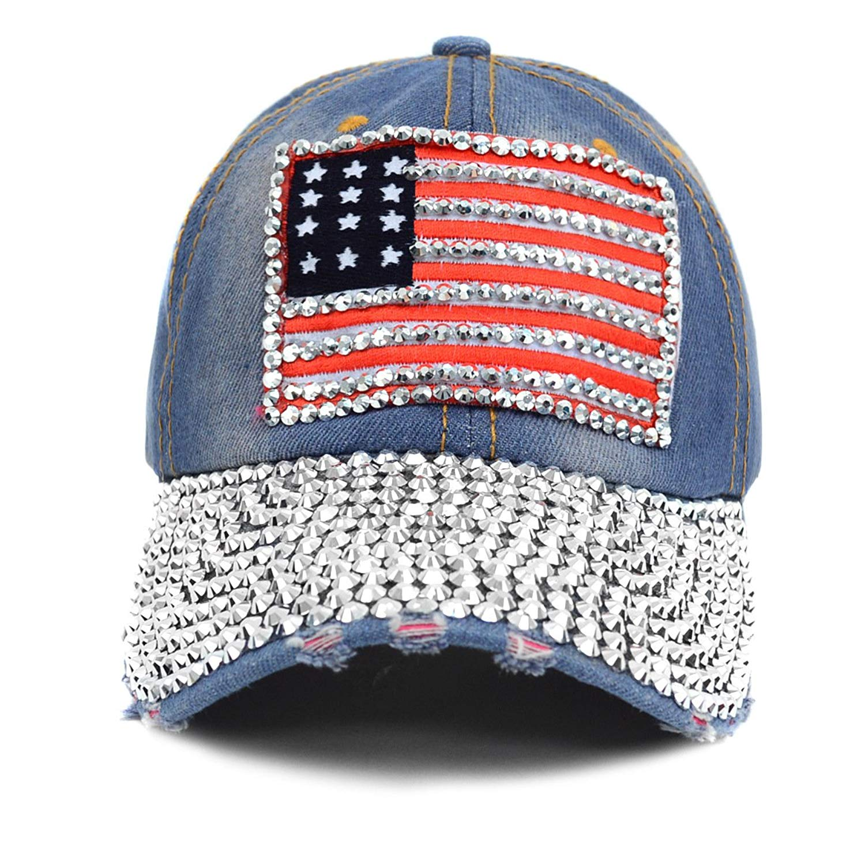 Get Quotations · Unisex Studded Denim American Flag Cap a948cd818d20
