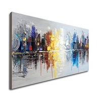 Hand Painted Cityscape Modern Abstract Wall Art Decor Canvas Oil Painting