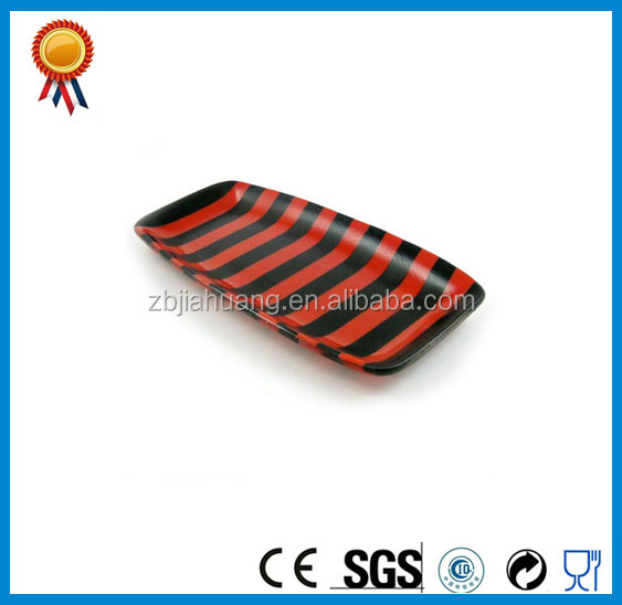 Black And Red Striped Glass Wedding Candy Tray