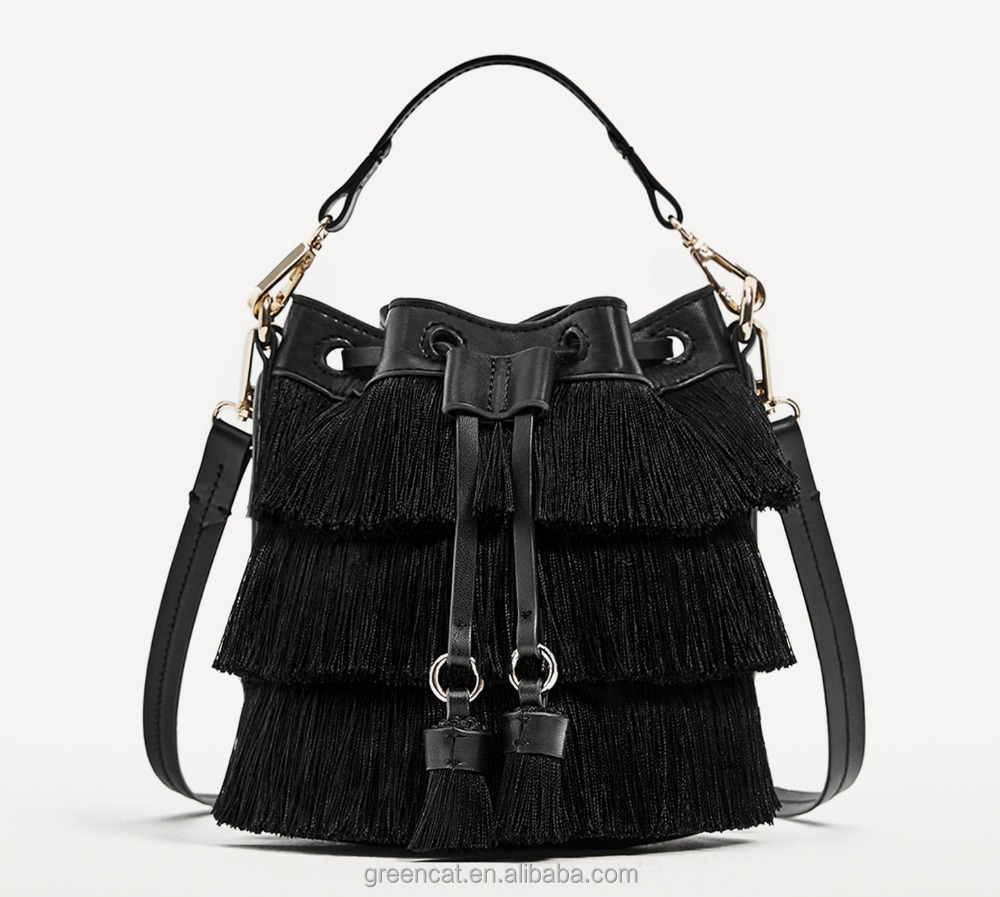 Designer charles keith cowhide women shoulder hand leather embroidery tassel fringe style cross body sling bag handbag A20370