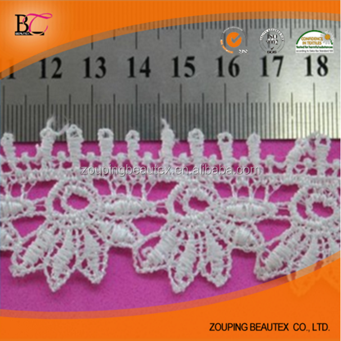 Factory supply 3cm 100% polyester water soluble lace trim fabric