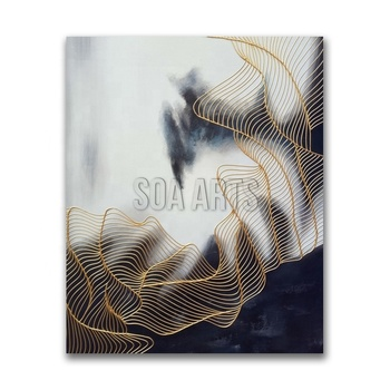 Textured Golden Lines Abstract Art Paintings