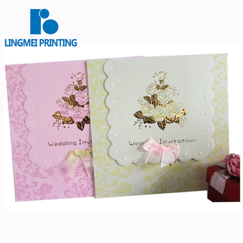 Custom logo paper card printing luxurious wedding invitation card printing service
