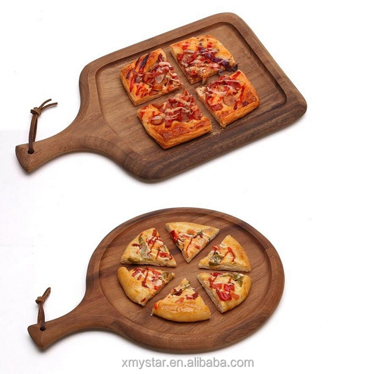 elegant bamboo wood pizza board, pizza peel set, round and rectangular perfect fot serving pasta pizza and bread Factory BSCI