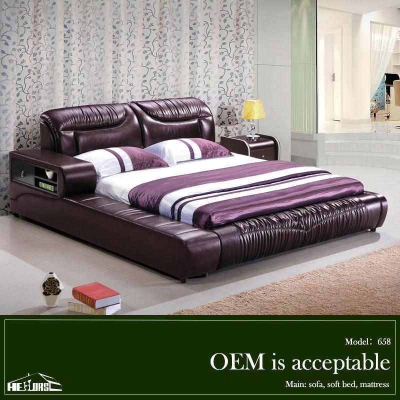 658# morado cama de cuero moderno con espacio de almacenamiento ...