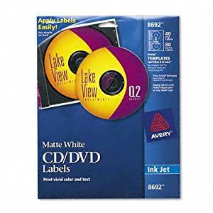 Avery® CD/DVD Labels for Inkjet Printers, White Matte, 40 per Pack