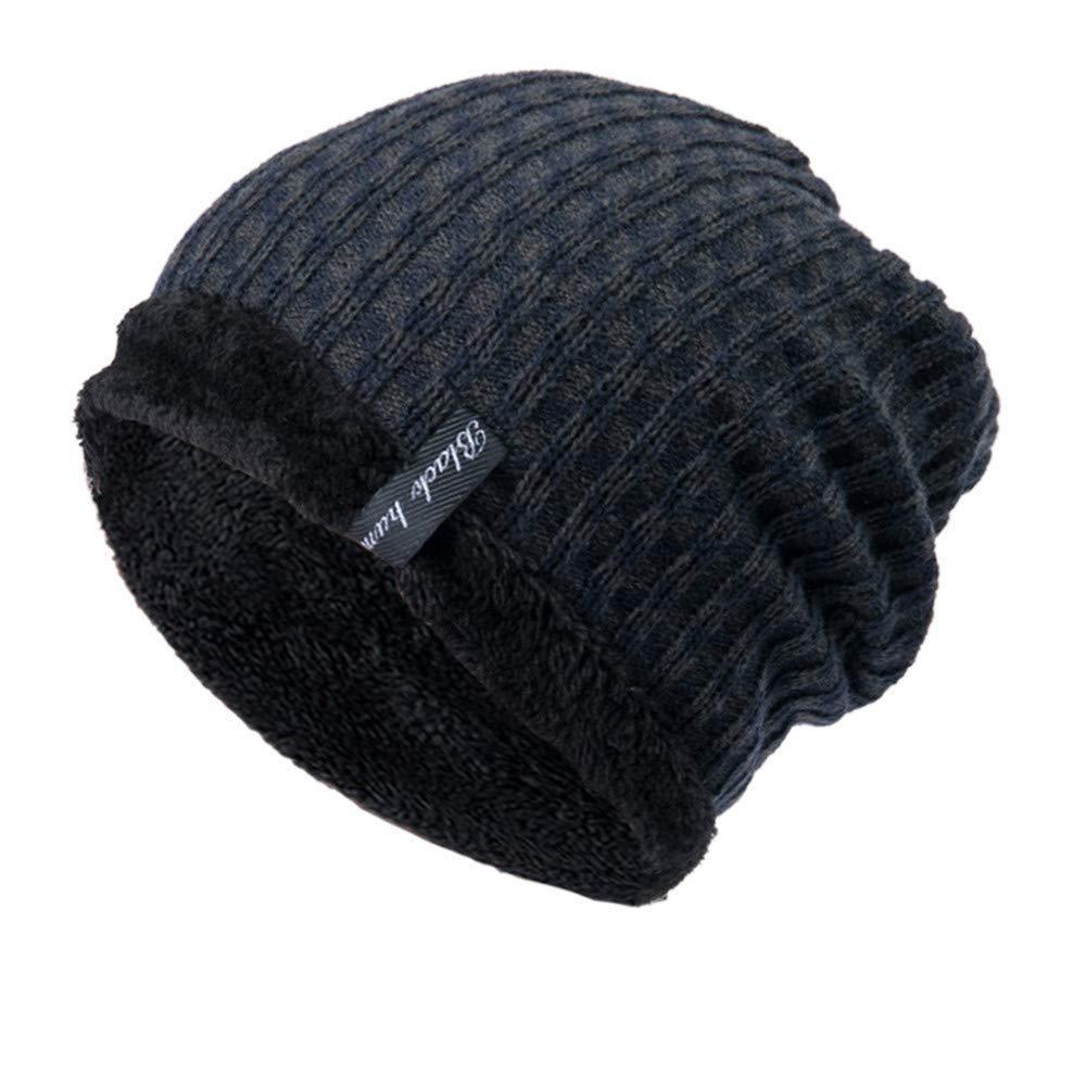 Clearance! Fheaven Men Women Baggy Warm Hat Mens,Women Winter Crochet Wool Knit Ski Beanie Skull Slouchy Caps Hat (Navy)