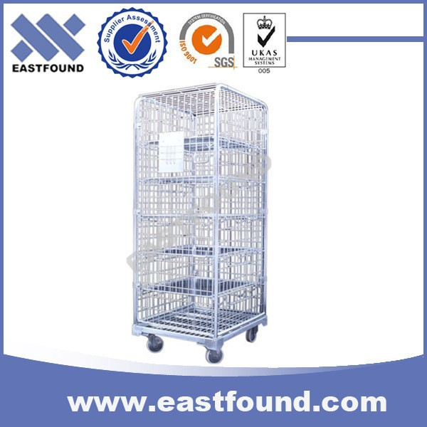 Heavy Loading Goods Wire 4 Wheel Roller Cage, Steel Roll Container
