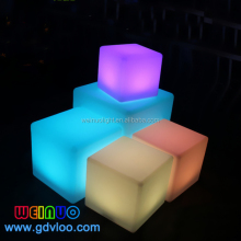 PE plastic led light cube waterpoof IP68 illuminated led cube table and chair