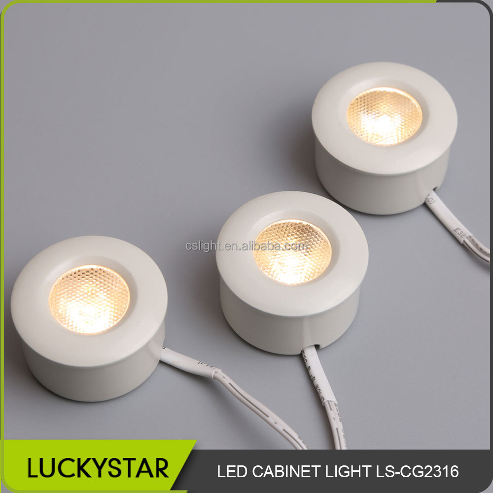 LuckyStar 2016 New design hot sale kitchen cabinet LED light waterproof round aluminium cabinet LED lamp warm white LS-CG2316