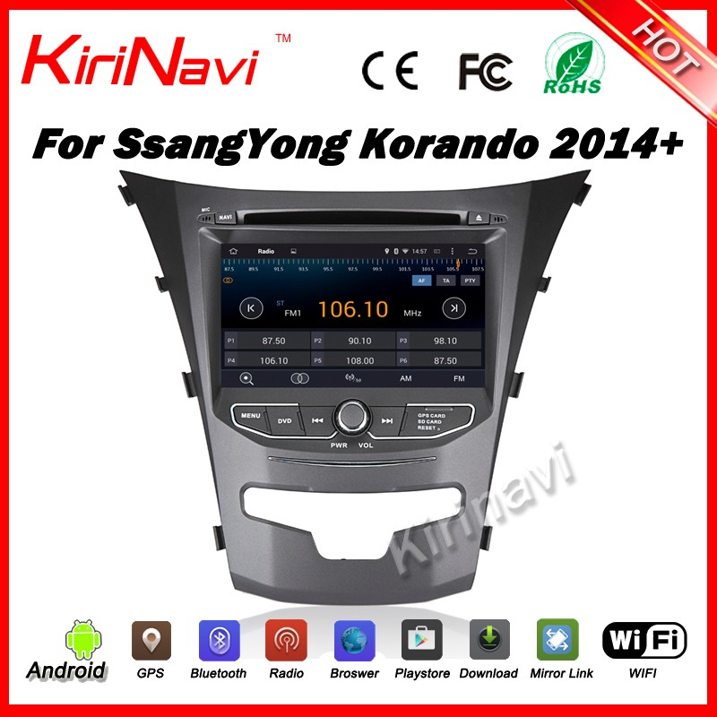 "Kirinavi WC-SY7067 android 5.1 7"" car radio 3g dvd gps for ssangyong korando 2010 2011 2012 2013 quad core car audio dvd player"