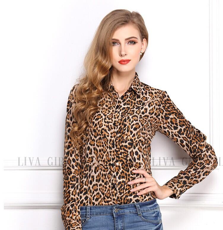 0dd9893517f Get Quotations · 2015 New Leopard Print Casual Chiffon Blouse Stand-Neck  Long Sleeve Shirt Elegant Women Blouse