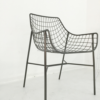 Outdoor Solid Metal Wire Frame Patio Chair Black Furniture Dining