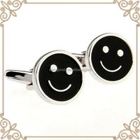 custom metal wholesale fancy cuff links black enemal face shape cufflinks