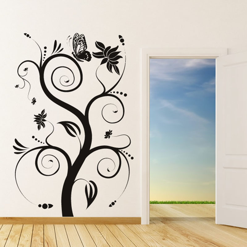 Hot Sale Waterproof DIY Removable A Butterfly On The Swirl Tree Wall Sticker Nature Style Home Decor