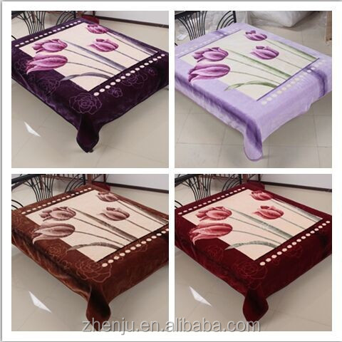 Flower design raschel blanket 2 ply embossed