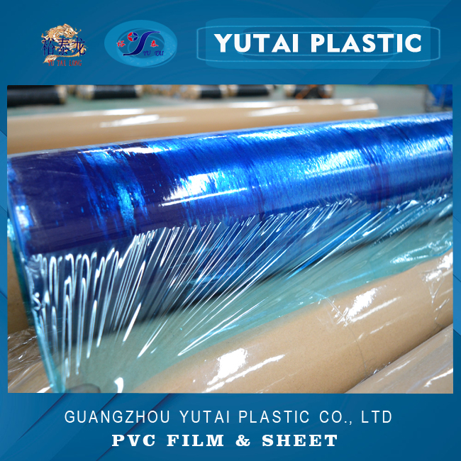 vivid blue stretch clear transparent micron pvc thin static film for metal wrapping