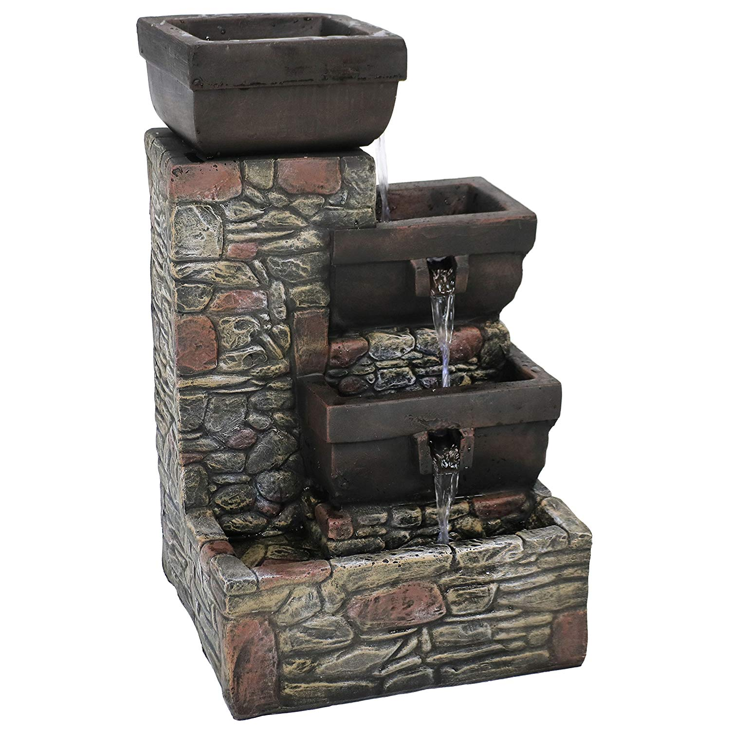 Sunnydaze 4-Tier Cascading Outdoor Waterfall Fountain with LED Lights, Patio and Garden Water Feature, Stacked Stone Square Bowls, 22-Inch Tall