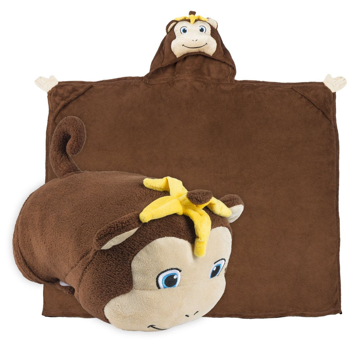 Comfy Critters Stuffed Animal Blanket – Monkey – Last Chance Characters – Kids huggable pillow and blanket perfect for pretend play, travel, nap time