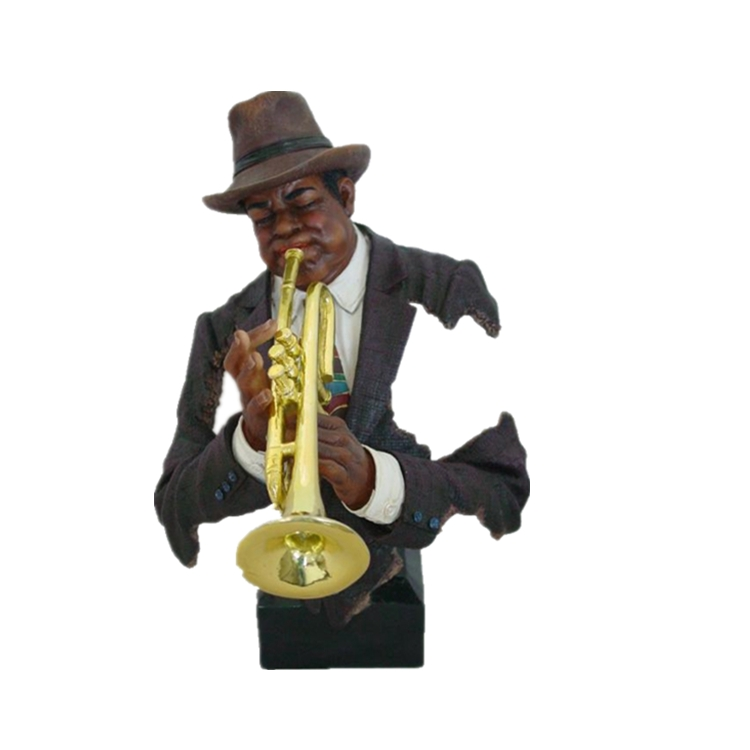 Resin male musical sculpture polyresin black man statue musical instrument series for decoration