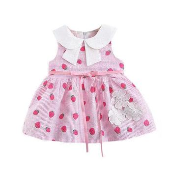 2019 Summer Children's Skirt Baby Girls Dress Short-sleeved Girls Princess Dress Strawberry Print Striped Skirt