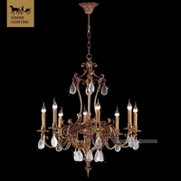 Antique brass chandelier lingli home lighting High quality lobby chandlers lights indoor lamp