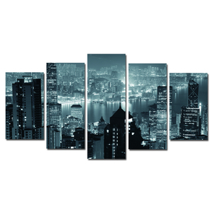 HONGKONG night scene digital photography printing 5 panel canvas wall art