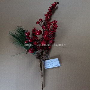 Poinsettia Artificial Flower/Christmas Fruit Pick/Christmas Glittering Decorations