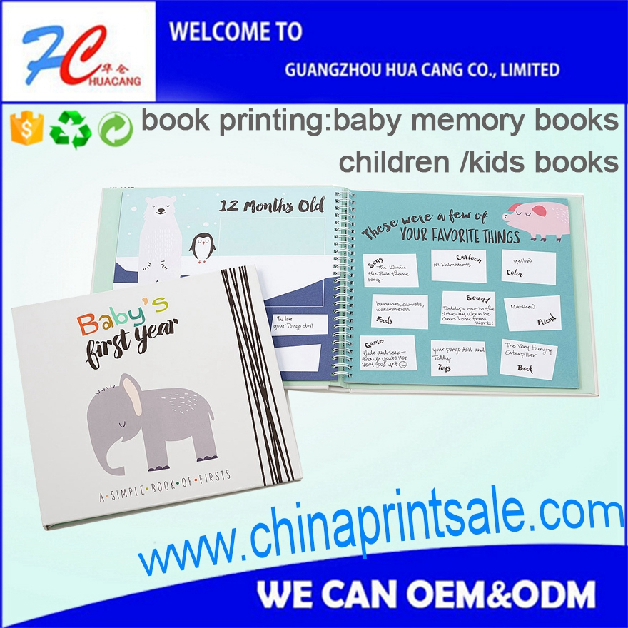 2016 hot sale baby memory book with adoption pages for the printing service provider in China