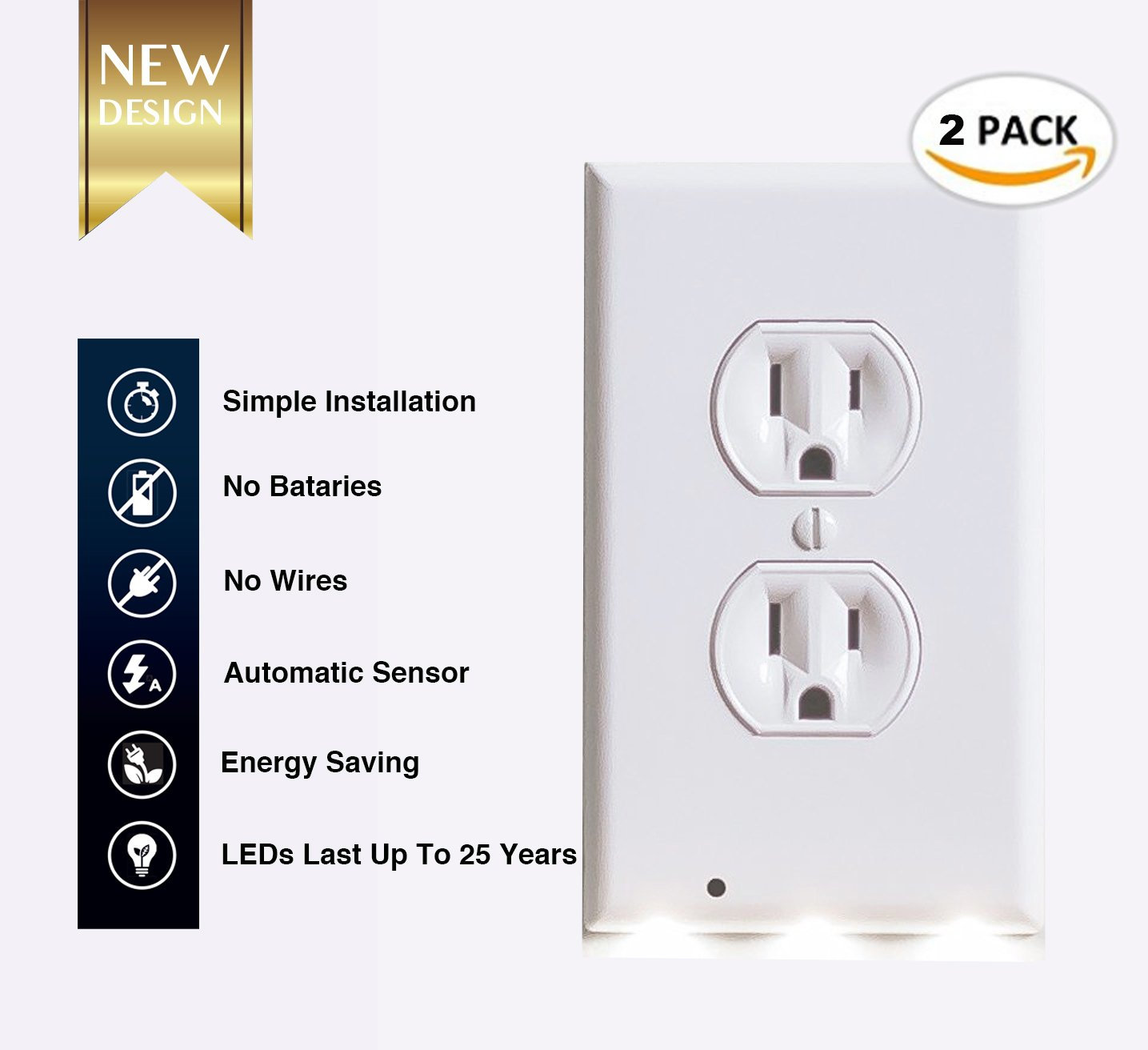 (2 pack) Outlet wall plate with Led night light – Guidelight - Outlet Wall Cover Plate Receptacle With Energy Efficient LED Lights - Built in sensor - No wire - White (2, duplex)