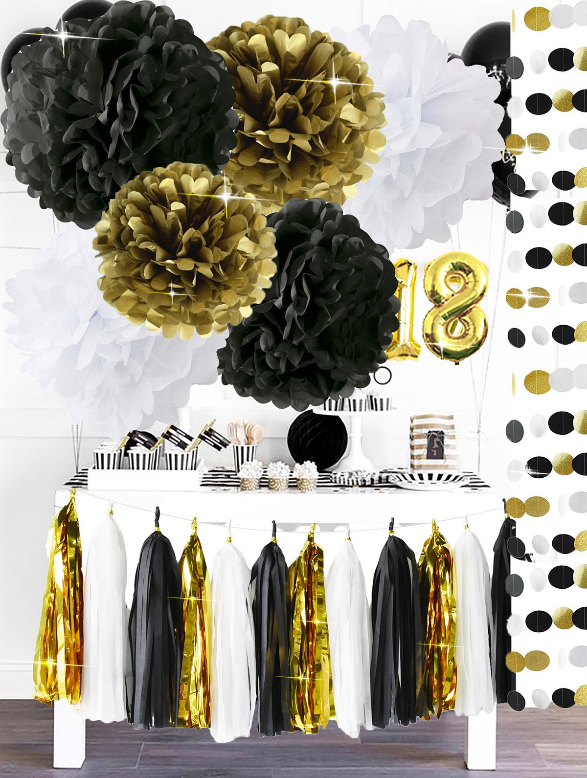 Happy New Year Party Decorations Black White Gold Tissue Paper Pom Pom Paper Tassel Garland for Great Gatsby Decorations/ New Year's Eve Party /Birthday Decorations/Bridal Shower Decorations