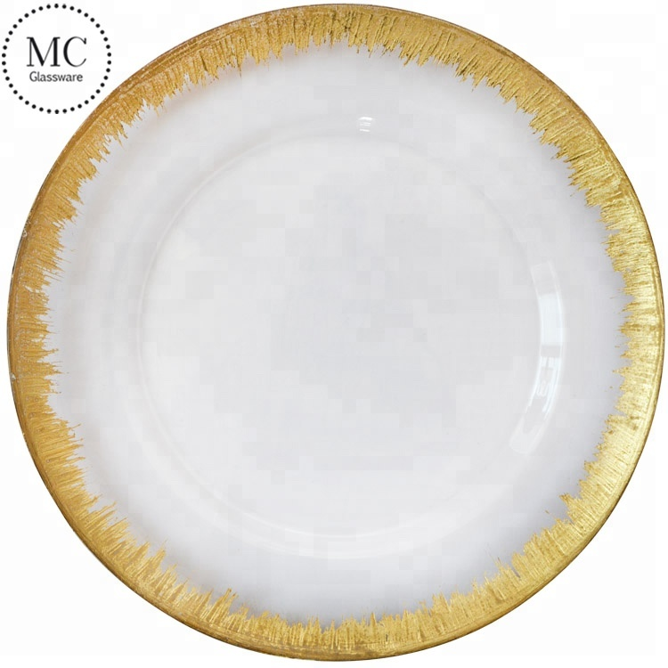 Wedding clear glass gold rim charger <strong>plates</strong> wholesale