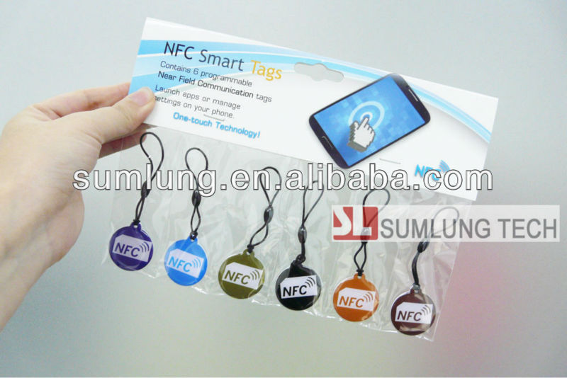 Newest design delicate epoxy rewritable NFC tag with Ntag203 chip, universal for all NFC phones