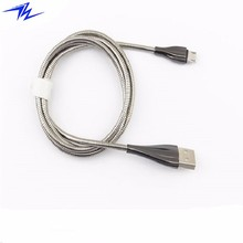 2018 best gift zinc alloy shell plus metal flexible pipe micro USB data cable for mobile phone