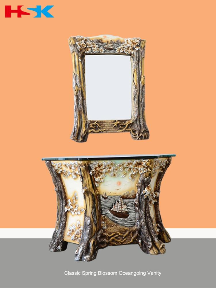 mobiletto del bagno classico intagliato disegno artistico albero con trasporto delloceano tipo di