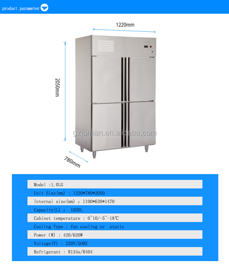 1.0LG 4 Doors Double-Temperature Static Cooling/Fancooling Reach-In Kitchen Freezer