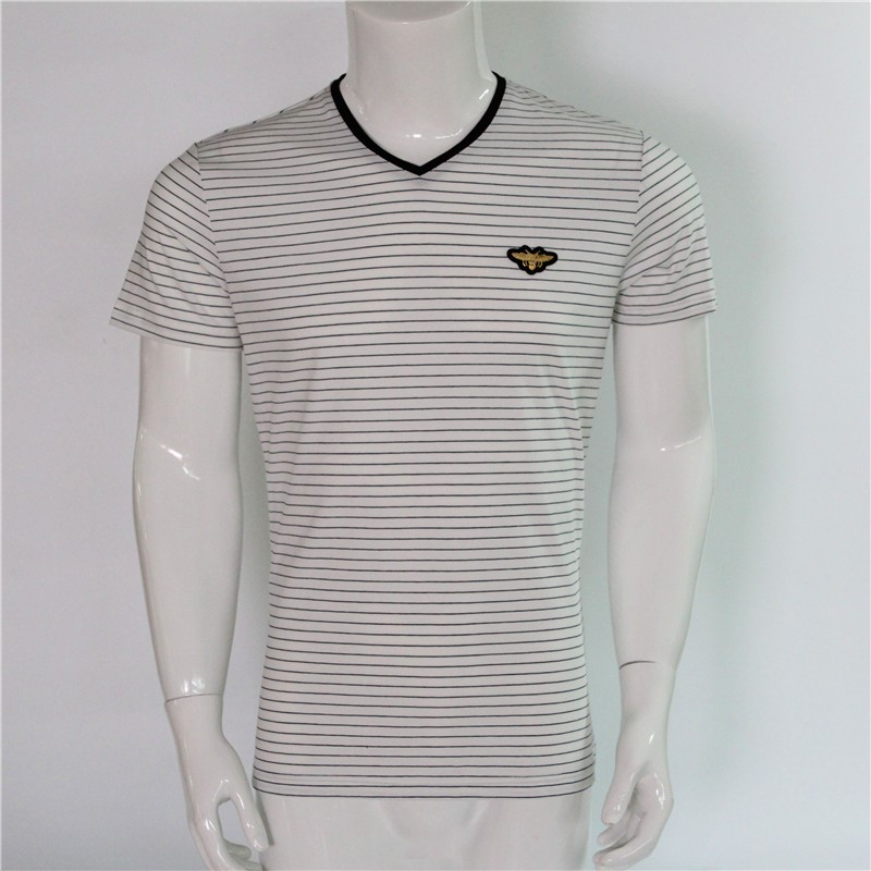 round neck mens t shirt with stripes and heat-transfer short sleeve