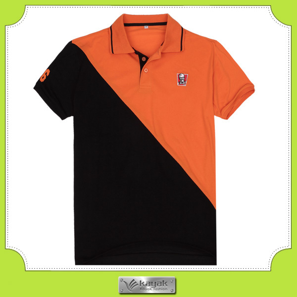 Custom design two color combination embroidered cotton for Custom polo shirt design