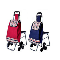 Factory Directly Sell 2015 Newest Fashion Wholesale Custom Print Folding Shopping Trolley Bag With Chair Heavy Duty