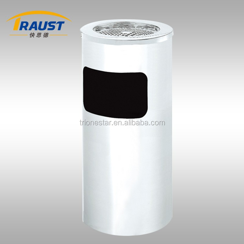 Indoor round shopping mall stainless steel recycling rubbish barrel-17L