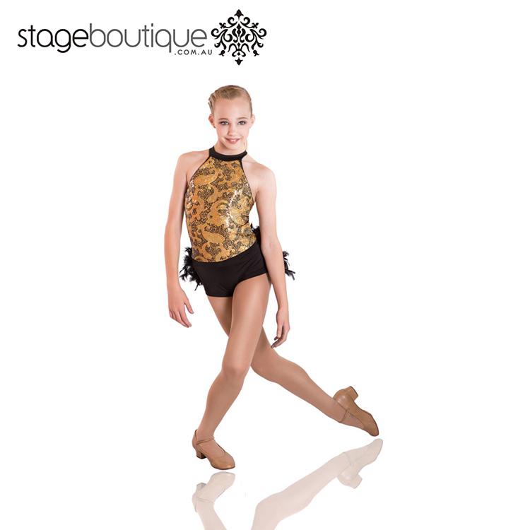 3b92744190 Black Gold Lantejoula Penas multicoloridas acro leotards dança ...