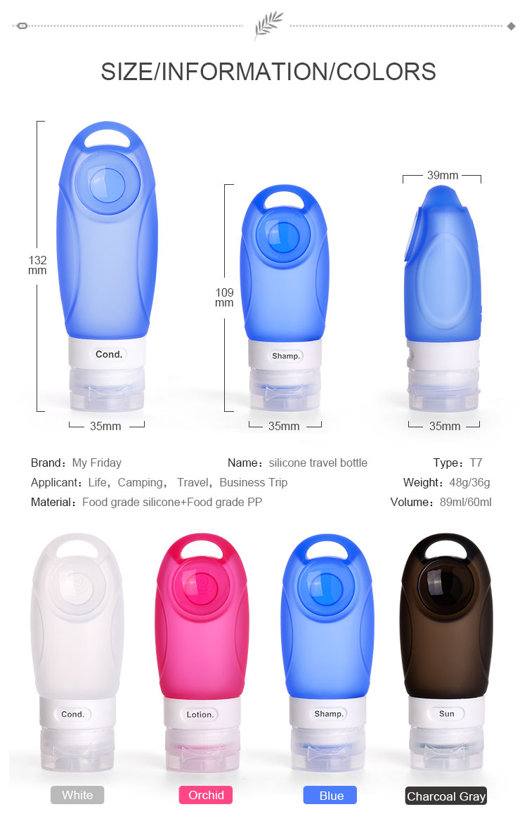 Cosmetic 100Ml Food Grade Silicone Squeeze Leak Proof Shampoo Kit Travel Silicone Bottle Set TB01